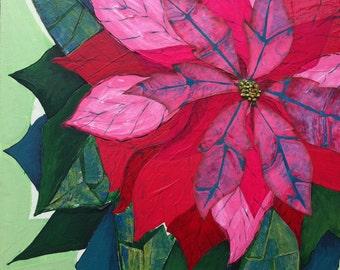 Christmas Poinsettia Mixed Media on Canvas