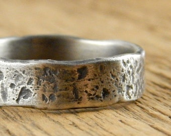 rustic viking ring wedding band recycled sterling silver wedding ring rough textured ring - Viking Wedding Rings