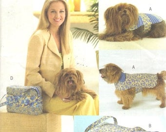 Butterick 4696 Misses and Dog Accessories Pattern Reversible Coat Tote Bag Collar Carrier  Stylish Items for your Pet Sewing Pattern UNCUT