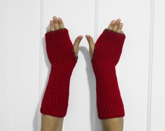 SALE Long Fingerless Gloves / Armwarmers [Red & Army Green]