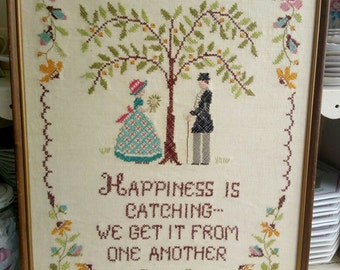 Cross stitch completed vintage frameHapiness is catacing we get it from one another big 47x37cm