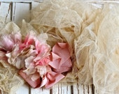 Vintage Lovely French Shabby Chic Pink Millinery Roses With French Silk Tulle