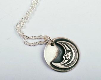 Silver Moon Pendant, moonlight charm, sterling silver lunar necklace, shadowbox range