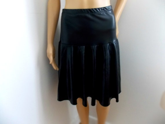 skirt faux leather metallic spandex black by mjcreation