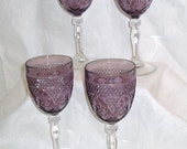 Vintage Antique Amethyst Purple Glass Goblets Cristal D'Arques Durand France, Elegant Stem Wine Glasses, Vintage Water Stemware, Set of 4