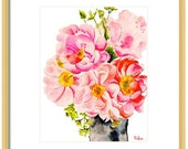 Watercolor Flower Art Print, Peony Art Print, Peony Painting, Home Decor, Office Art, Flower Giclee Print