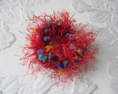 Red Hair Scrunchies, 2 Hair Scrunchies, Red Bling, Crochet Hair Accessories, Ponytail Bands, 2 Elastic Hair Bands, Girls Hair Accessory