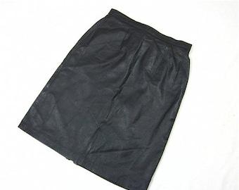 50% Off Sale Vintage 80s Biker Chic Leather Skirt, Sz S, M