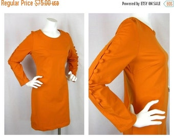 Vintage Cynthia Rowley Orange Knit Button Sleeve Dress, Sz L