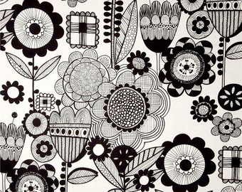 Black White Shower Curtain, Retro Bathroom Shower Curtain, Mod Floral Shower Curtain, Hipster Bathroom Decor, Funky Shower Curtain