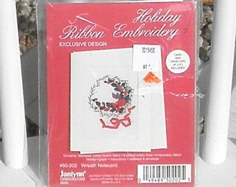 Holiday Ribbon Embroidery Wreath Notecard Kit Vintage Janlynn Corp
