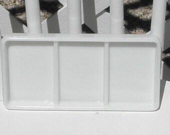 Dental Tray Vintage Milk Glass American Cabinet 0824 Vanity Drawer Cosmetics Craft Organizer Beading Tray Three Section