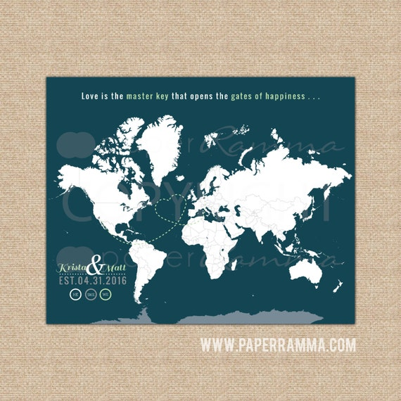 Personalised Wedding Gift Etsy : Personalized Wedding Gift, World Travel Map, Interactive Map ...