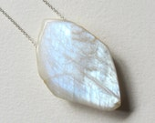 Rainbow Moonstone Blue Flash Necklace- Sterling Silver Wedding Jewelry - Long Necklace