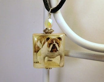 BULLDOG Jewelry / Scrabble Pendant / Necklace with Cord / Charm / Dog Lover Gifts