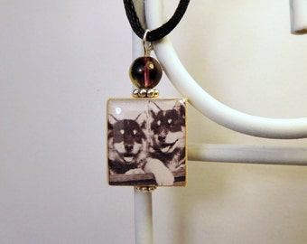 HUSKY Dog Jewelry / Sled Dog Puppies / Scrabble Pendant / Necklace with Cord / Charm