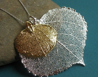 2-DAY 20% OFF SALE Long Leaf Necklace, Mother and child necklace, real leaf jewelry, two aspen leaves necklace, silver & gold, two tone, mot