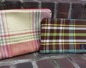 Plaid zipper pouch brown teal green yellow rose pink cosmetic bag everyday bag