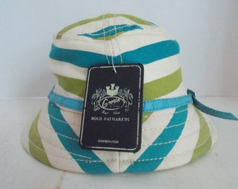 Vintage Goorin Cotton Bucket Sun Hat With Original Tag Turquoise Leather Band Size Medium Retro