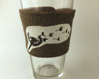 Dandelion Breeze Coffee/Beer Cozy with Gift Card Holder Option