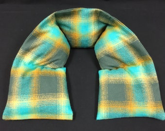 Heated Neck Warmer, Microwavable Neck Heating Pad, Corn Bags, Massage Therapy, Heat Therapy Wrap - Teal Gray Plaid Brushed Cotton