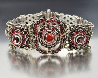 Victorian Bohemian Garnet Bracelet, Austro Hungarian Bracelet, Sterling Silver, Gemstone Bracelet, Antique Jewelry January Birthstone