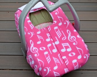 Music Notes on Pink Infant Car Seat Cover, Winter Car Seat Blanket with Zipper, Car Seat Canopy Alternative, Baby Girl