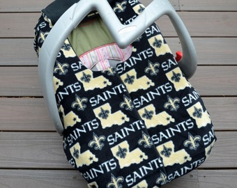 New Orleans Saints Car Seat Cover for Baby, Football by Sophie Marie- not a registered product of the National Football League (NFL)