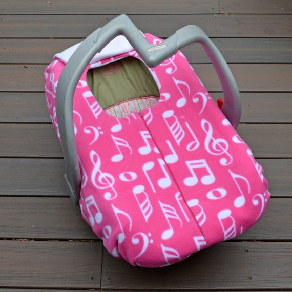 music notes on pink infant car seat cover winter car seat. Black Bedroom Furniture Sets. Home Design Ideas