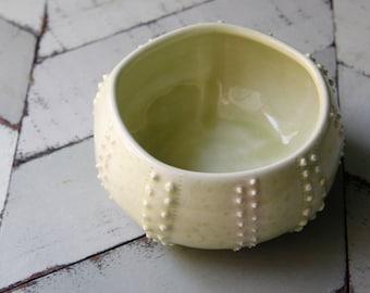 light green sea urchin bowl, porcelain
