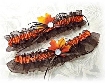 Fall Leaves wedding bridal garter set - chocolate brown and burnt orange - fall wedding bridal accessories
