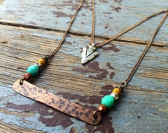 Boho Tridal hammered copper layered necklace