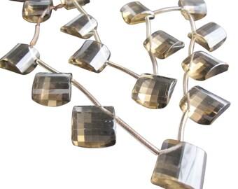 Smokey Quartz Briolettes Beads, Diamond Briolette Drops, 16mm, SKU 2050A