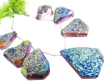Druzy Beads, Drusy, Titanium Druzy Beads Briolettes, Titanium Drusy, Druzy Quartz Beads, SKU 4876
