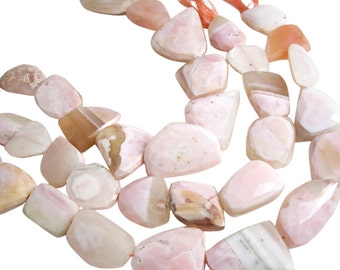 Pink Opal Beads, Pink Peruvian Opal, Pink Opal Nuggets, 17mm x 30mm, Faceted Nuggets, SKU 4042A