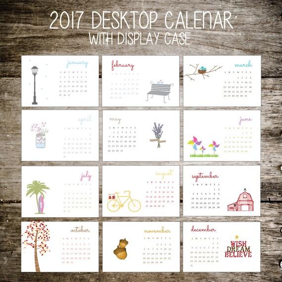 2017 Calendar, 2017 Desktop Calendar, Desktop Calendar, Office Gift, Christmas Gift, Holiday Gift, Stocking Stuffer, Planner, Teacher Gift