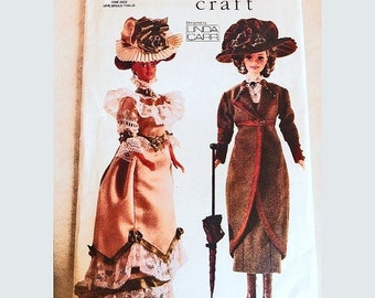 SALE 25% Off Vogue Victorian Barbie Doll Clothes Pattern Dress Coat Hat Parasol Historical Costumes Circa 1900 1910 Fashion Doll Clothes Pat