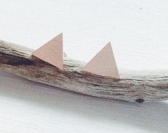 Triangle Studs, Rose Gold Studs, Triangle Posts, Rose Gold Triangle Post Earrings, Triangle Post Earrings