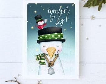 "greeting card - christmas -holiday - snowman - snowmen - cardinal -bird -snowy night - star  - ""Christmas bells are ringing!- No.3"""
