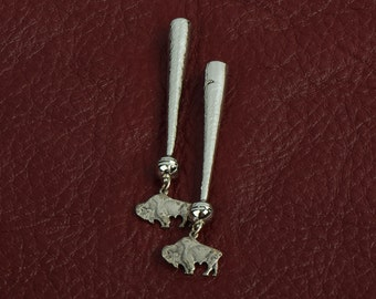 Bolo tip zinc cast  buffalo charms on  tip  ,  sold package of 2 each