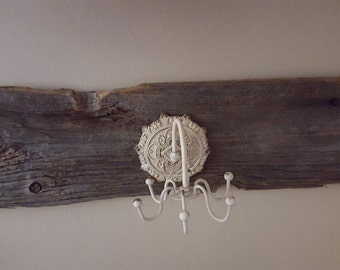 Jewerly Organizer Mounted on Barn Wood Back Shabby Cottage