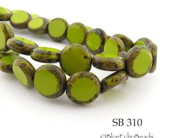 10mm Picasso Czech Glass Coin Beads Lime Green Picasso Edge (EC 310) 8 pcs BlueEchoBeads