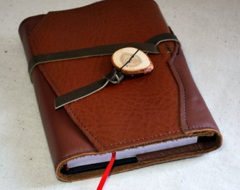 Small Refillable Sketchbook- Orange-brown Leather with Leather Tie