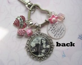 Personalized family keychain double sided, purse clip, photo keepsakes, family keychain keepsakes