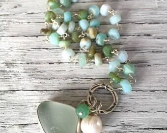 Sea Foam Green Sea Glass Pendant with Semi Precious Stones Necklace