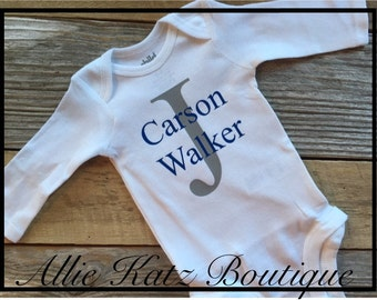 Little Boys personalized onesie short sleeve or long sleeve