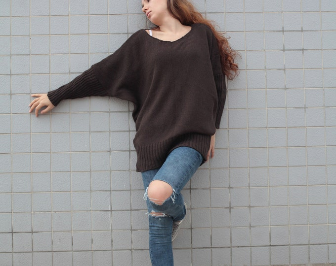 OVERSIZED Woman sweater/ Knit sweater in BROWN