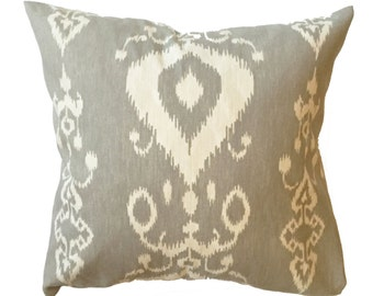 "Gray Ikat Pillow Cover 16"" Square"