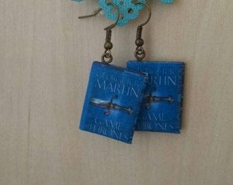 Mini Game of Thrones Earrings - Book Jewelry- Handmade Book Earrings - Mini Book Jewelry - Handmade Mini Game of Thrones Book Earrings - GoT