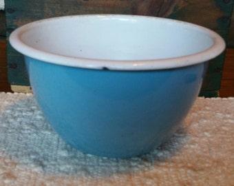 Vintage Blue Graniteware Bowl